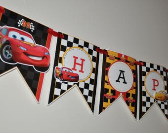 Disney Cars Personalized Birthday Banner