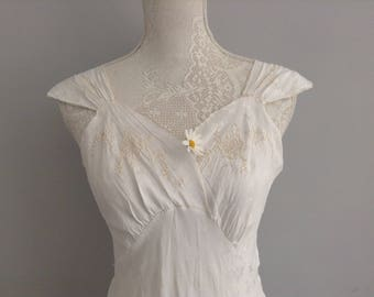 1930's White Embroidered  Silk Bias Cut Slip/ Dress