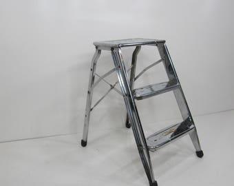 Vintage Step Ladder, Industrial Step Stool, Kitchen Step Stool, Chrome Metal Three Step Ladder, Plant Stand