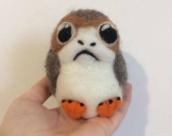 Porg Star Wars Handmade Needle Felted fibre art ornament small
