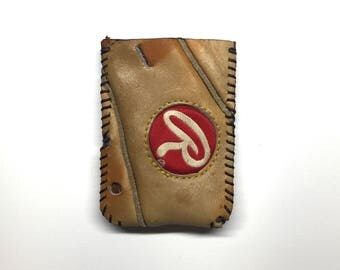Repurposed Rawlings Baseball Glove Wallet with round patch
