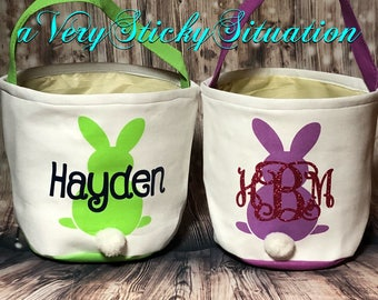 Custom Personalized with monogram or name. Easter Bunny Basket, Easter Bunny Bucket. Your choice of color FAST SHIPPING