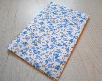 Fabric coupon cotton flowers blue / green 49 x 49 cm new