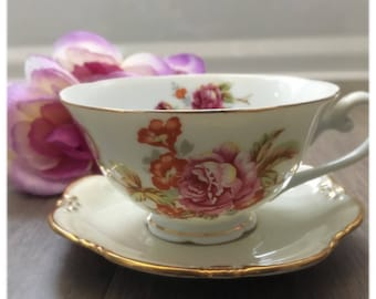 Vintage Mismatched Jyoto China Tea Cup Made in Occupied Japan and Johann Seltmann Vohenstraus Saucer Made in Bavaria.