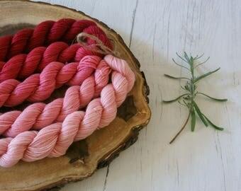 Merino Sock Yarn Mini Skeins - 5 x 20g - 4ply Pink Gradient - hand dyed
