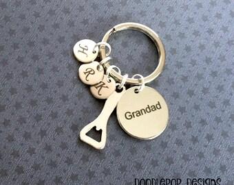 Personalised Grandad keyring - Gift from Grandchildren - Birthday gift for Grandad - Bottle Opener keyring for Grandad - Drinking gift - UK