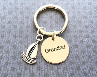 Grandad gift - Grandad keyring - Birthday gift for Grandad - Sailing boat keyring - Grandad keychain - Sailing gift - Stocking filler - UK