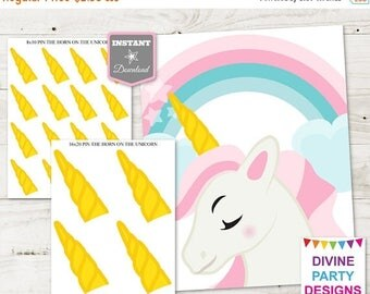SALE INSTANT DOWNLOAD Printable Pin the Horn on the Unicorn Game / Print as 8x10 or 16x20 / Unicorn Collection / Item #3503