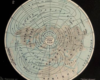 1900.Antique METEOROLOGY map.Atmospheric circulation.117 years old print.From the Nouveau Larousse Illustré.9.1x12.1 inches.23x31cm.