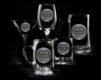 Logo Engraved Glassware, Bar Glasses (Set of 20)