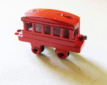 Vintage Red Metal Trolly Car Charm Red Enamel Japan Trolly Car marked Japan