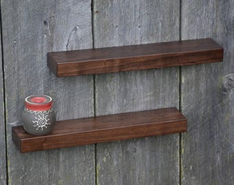 Matching Pair of Walnut Floating Shelves 23 x 4.5