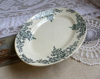 Antique french forest green transferware oval serving platter. Dark green transferware. Oval platter. Jeanne d'Arc living. French nordic.