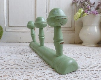 Antique french painted wood coat hooks rack. Faux bamboo wall hooks. Chippy paint Mint green. French wooden coat rack. Hat hooks. Hat rack.