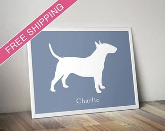 Personalized Miniature Bull Terrier Silhouette Print with Custom Name - Bull Terrier gift, dog art, dog poster