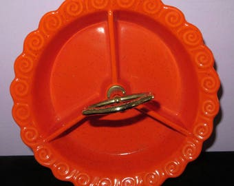 Mid Century Orange California Pottery Divided Relish Candy Dish Bowl with Handle