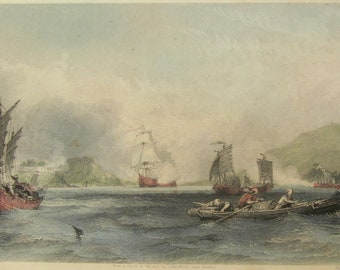 1845 Hand Colored Engraving China Naval Battle - HM Ships Imogene and Andromache Boca Tigris - Free Shipping