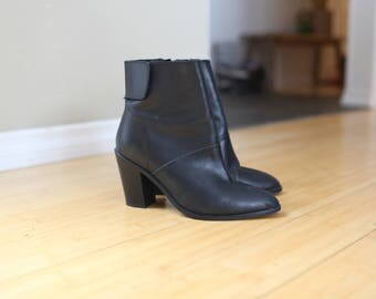 vintage black leather oxfords ankle boots slip on womens 95
