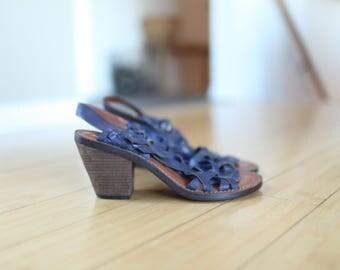 vintage woven purple leather hurache wood  sandals womens 8