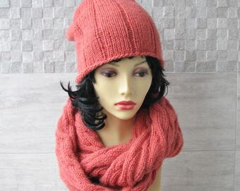 Womens Hat and Scarf Set, Floppy Hand Knit Accessories for Ladies Spring Fashion