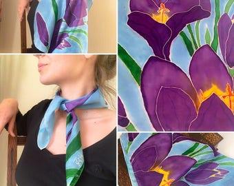 Silk Scarf - Handpainted Square Silk Scarf - Crocus vernus - Purple and Green Silk Scarf