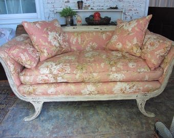 Antique Pink Flowered French Settee