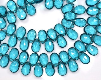 5 Strands AAA Vivid 7 Inch-9x14mm-London Blue Topaz Quartz Faceted Pear Shape Briolette Beads-35 Beads/Strand Approx