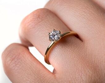 Moissanite ring, Promise ring, Black diamond ring, Engagement ring, Black diamond, Solid gold ring, Solitaire ring, Wedding ring, Love ring