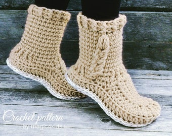 Crochet pattern: women braided slipper- boots,with or without extra outsoles,all female sizes,cables,adult,loafers,girl,bulky yarn