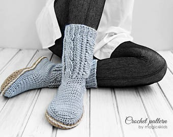 Crochet pattern: women cabled boots,slippers,all women sizes,cables,crochet rope soles,adult,soles pattern included,loafers,girl,cord,twine