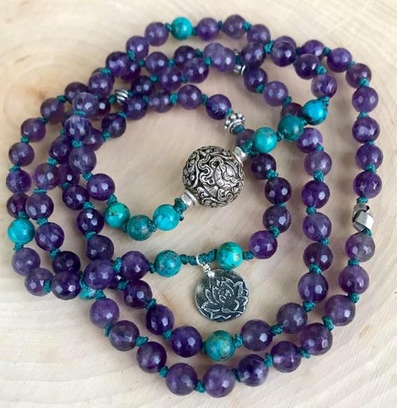 Mala for Prosperity And Protection - 8 Auspicious Symbols - Amethyst & Turquoise Mala Beads - Amethyst Bracelet - Lotus Necklace - Yoga Gift