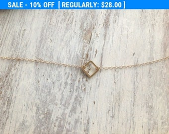 SALE gold necklace, tiny gold necklace, simple necklace, dainty necklace, square necklace, holiday gift idea- 017