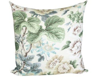 READY TO SHIP - 20x20 Highgrove Floral designer pillow cover with navy linen reverse