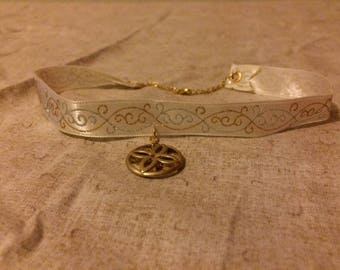 White Ribbon necklace with gold and silver accents