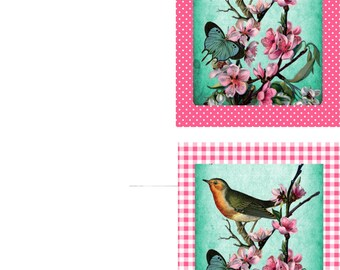 Spring bird and cherry blossoms printable cards