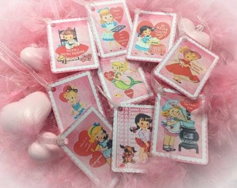 9 Pink Valentine's Day Decor Tags/Cards AND 9 Ribbons Vintage Retro 1940s/1950s Children Kids Little Girl Gift Bag Art Tag Shabby Chic Card