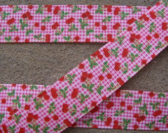 3 yards pink and Red Cherry Ribbon Grosgrain Cherries Fruit 7/8 wide cherry grosgrain printed ribbon cherry hair bow ribbon fruit ribbon