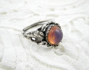Vintage Modernist Ring, Faux Opal, Size 7