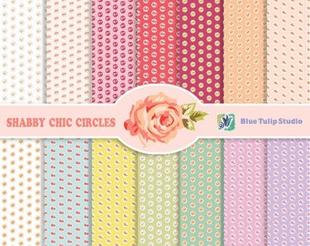 14 Shabby Chic Circles Digital Scrapbook Paper Pack  for Invites, Card Making, Digital Scrapbooking