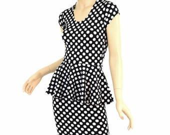 Black and White Polka Dot Print Cap Sleeve Peplum Top & Wiggle Skirt 2PC Set - 154725