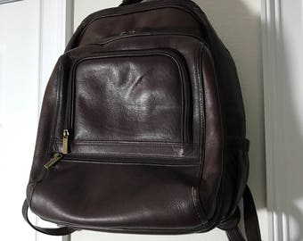 Le Donne Dark Brown Leather Backpack Carry On Travel Bag Unisex