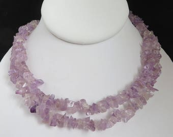 Purple Quartz Necklace, Long Beaded Necklace, Quartz Chip Necklace, Lavender Necklace, FREE SHIPPING