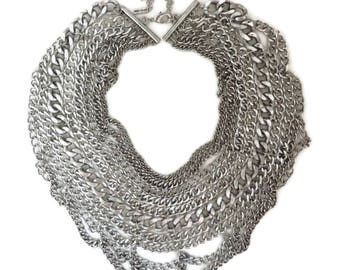 Chunky Chain Link Bib Necklace, Vintage Baublebar Silver Tone Statement Necklace