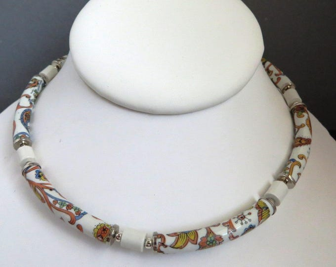 Vintage Japan Flowered Necklace, Tubular Beaded Choker, Multicolor Tube Beaded Necklace