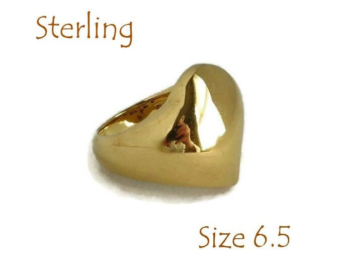 Sterling Silver Heart Ring - Vintage Gold Plated Sterling Love Heart Ring, Perfect Gift, Gift Box, Size 6.5, FREE SHIPPING