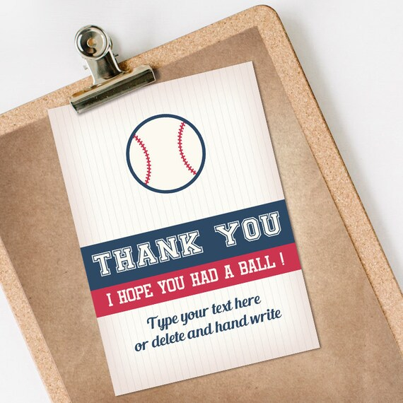 Baseball Thank You Card INSTANT DOWNLOAD