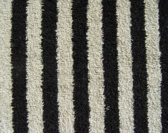 Natural Black Striped Washed Tumble-Dried Terry 100 % Linen Fabric by Meter