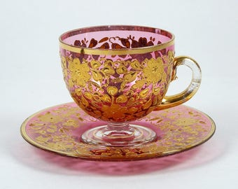 Vintage Enameled Cranberry Glass Tea Cup w/ Gold Floral Decoration 4 oz Footed