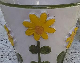 Italian Cache Pot Sun Flowers Limited Edition Flower Pot