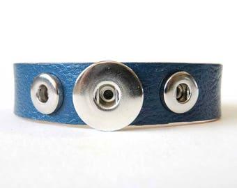 Blue Milled Leather Snap Charm Combo Bracelet